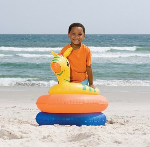 Boy with inflatable rings