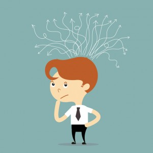 businessman thinking for solution with white arrow vector