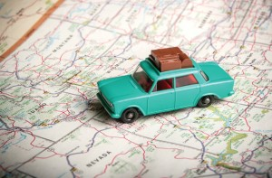 Toy car on a road map