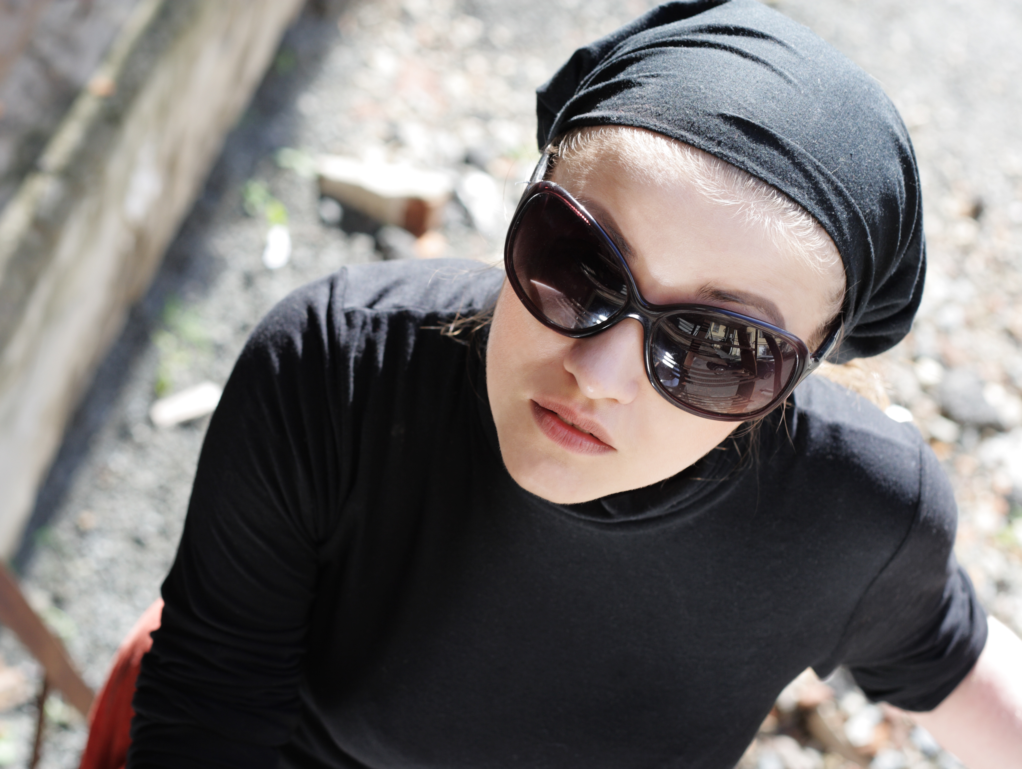 Beautiful Woman in Sunglasses and Kerchief