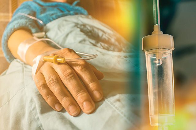 Cancer patient and perfusion drip